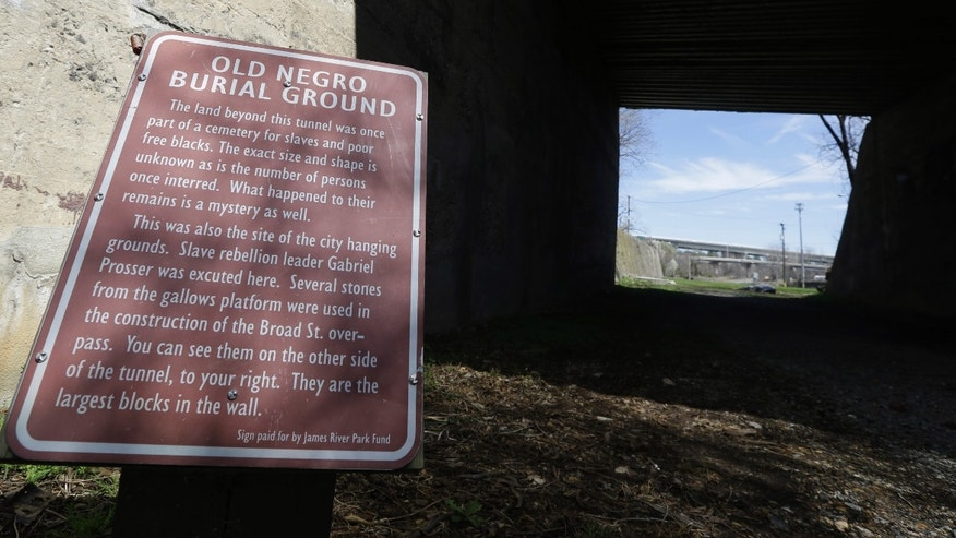 March 31, 2014: A historical marker designating the Old Negro Burial Ground is displayed in Richmond, Va.