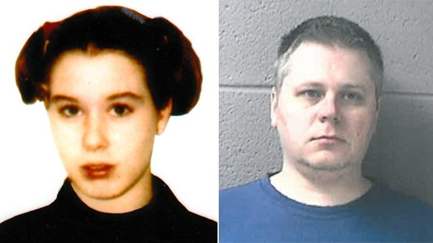 James P. Eaton, of Palatine, Ill., right, was arrested Saturday in Chicago. He was being held in Racine County Jail on $1 million bail on charges of first-degree intentional homicide and hiding a corpse in connection to the 1997 death of Amber Creek, a 14-year-old from Palatine, Ill. (Courtesy: Racine County Sheriff)