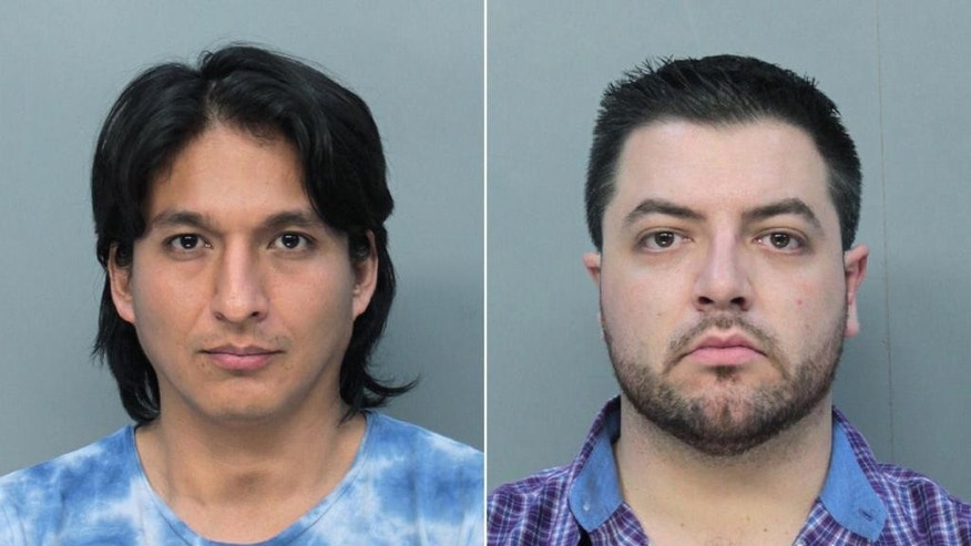 This combo made with undated booking photos made available by the Miami-Dade Corrections Department shows Mitchell Adber Espinoza, left, and Pascal Reid. The February 2014 arrests of Reid and Espinoza marked the first time any state has brought money laundering charges involving bitcoins, according to Miami-Dade State Attorney Katherine Fernandez Rundle. And it's likely to be a closely-watched test of whether criminal law can adapt to new digital forms of payment. (AP Photo/Miami-Dade Corrections and Rehabilitation Dept.)
