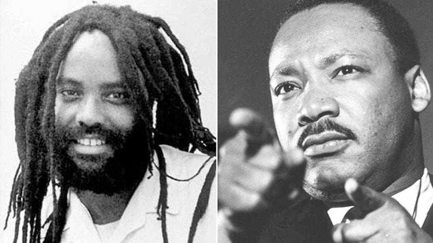 "A lesson plan asking students to draw a ""possible parallel"" between late civil rights leader Martin Luther King, Jr., right, and convicted cop-killer Mumia Abu-Jamal is an ""absolute disgrace,"" the widow of the fallen officer told FoxNews.com. (AP)"