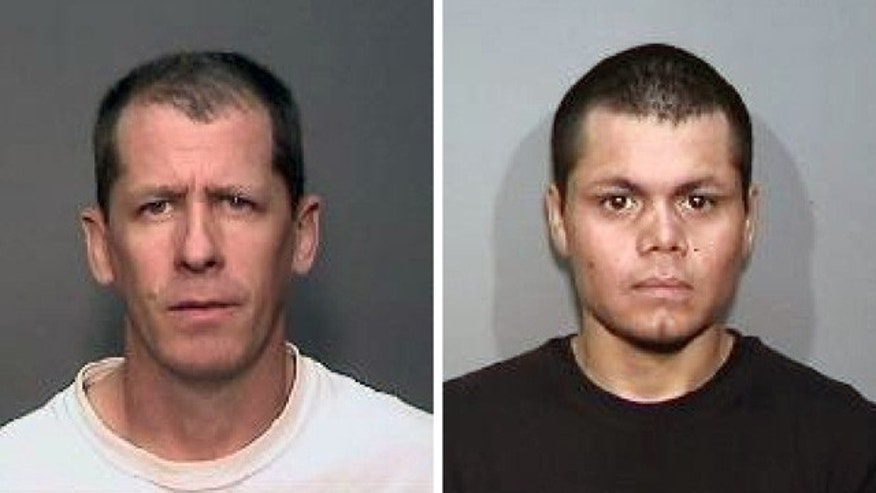 This combination of undated photos from the Megan's Law website shows Stephen Dean Gordon, 45, left, and Franc Cano, 27, who were arrested April 11 on suspicion of killing four women in Orange County, Calif. (AP Photo/Megan's Law)