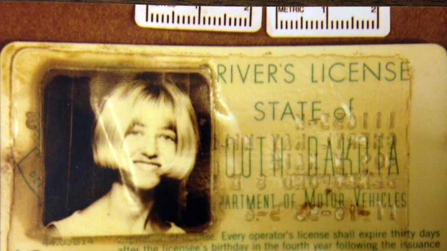 In this undated photo provided by the South Dakota Attorney Generals Office, Cheryl Miller';s driver's license is seen.