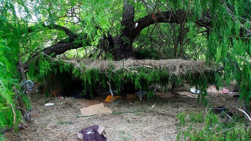 A hut made out of grass and tree limbs are viewed after U.S. Border Patrol agents detained about 75 immigrants who'd been living in hut for several days in a brushy area Thursday April 17, 2014 near North 10 St. and Sprague St. in McAllen, Texas. Agents spent about three hours rounding up the immigrants suspected of being in the country illegally after they responded to the area. Most of the immigrants are believed to be from Central America. (AP Photo/The Monitor, Gabe Hernandez)