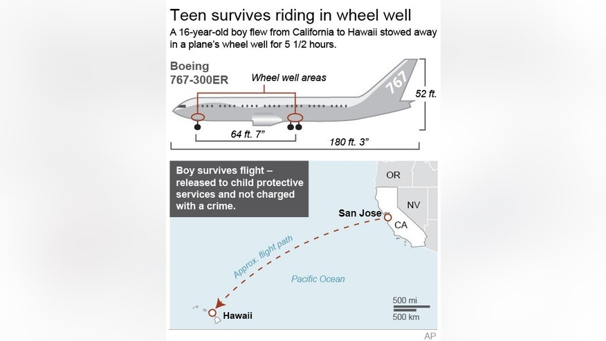 Graphic shows schematic of Boeing 767 and map of route taken by a teenage stowaway; 2c x 4 inches; 96.3 mm x 101 mm;