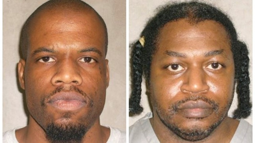 This photo combo of images provided by the Oklahoma Department of Corrections shows Clayton Lockett, left, and Charles Warner. Lockett and Warner, two death-row inmates who want to know the source of drugs that will be used to execute them, have placed Oklahomas two highest courts at odds and prompted aggravated members of the Legislature to call for the impeachment of Oklahoma Supreme Court justices. (AP Photo/Oklahoma Department of Corrections)