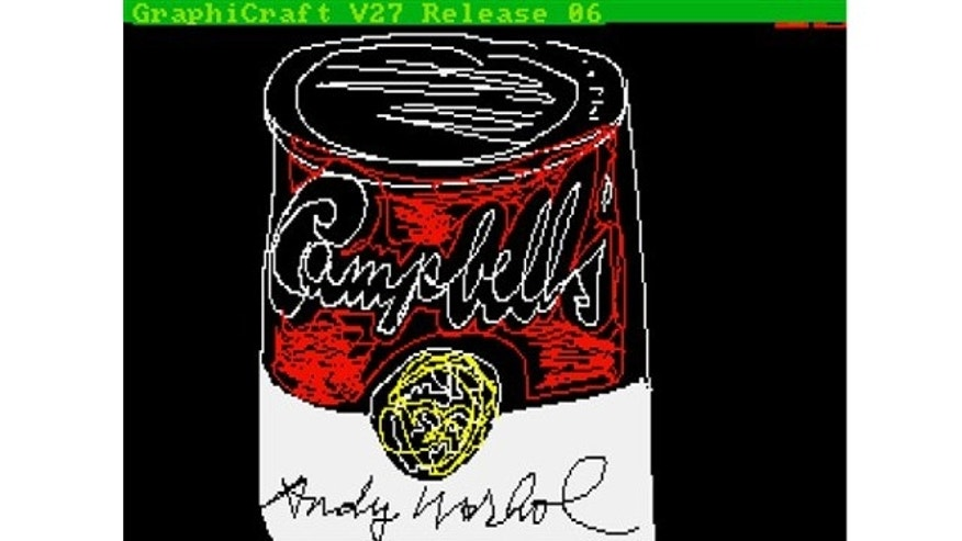 "UNDATED: This image provided by The Andy Warhol Museum in Pittsburgh, Pa., shows ""Campbell's,"" a piece that is thought to be made by the late pop artist, Andy Warhol, on a computer in 1985."