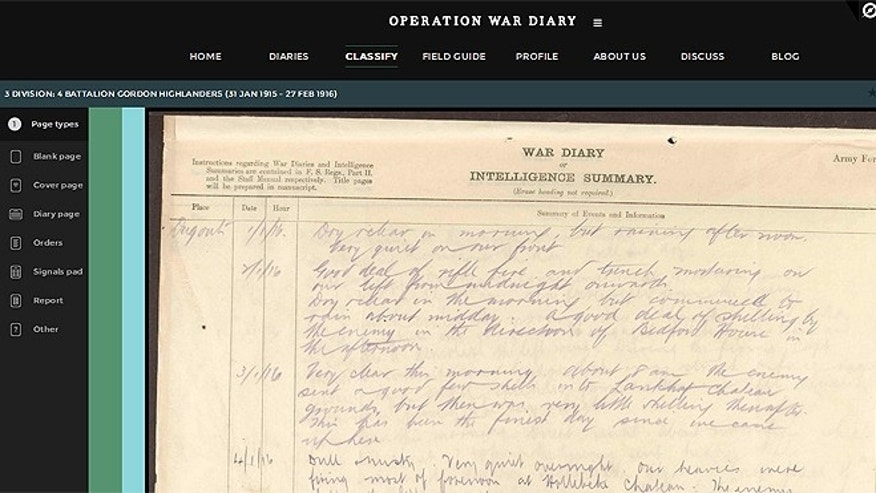 "Operation War Diary is a cooperative effort by the British National Archives, the Imperial War Museum and crowdsourcing website Zooniverse aimed at making previously inaccessible data available to academics and amateur historians alike, creating a formidable ""hive mind"" concept to offer fresh perspectives on the First World War."