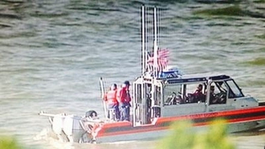 April 27, 2014: A Coast Guard vessel searches for a missing plane in San Pablo Bay (Courtesy KTVU)