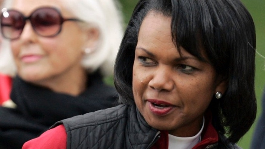 "FILE: Condoleezza Rice said she will not be delivering the commencement address at Rutgers University's graduation ceremony this month, saying the invitation has become a ""distraction."""