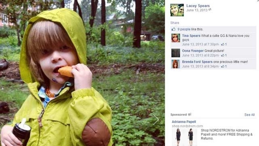 Lacey Spears' son, Garnett, is pictured here in a photo shared on her Facebook page.