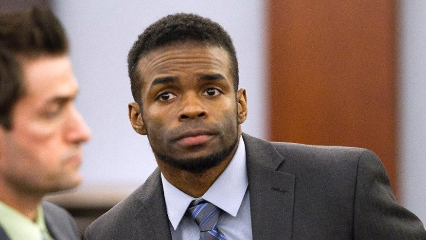"Jason Omar Griffith appears in court during his trial at the Regional Justice Center Thursday, May 8, 2014. Griffith is accused of murdering Luxor ""Fantasy"" dancer Deborah Flores Narvaez in December 2010. (AP Photo/The Las Vegas Sun, Steve Marcus) LAS VEGAS REVIEW-JOURNAL OUT"