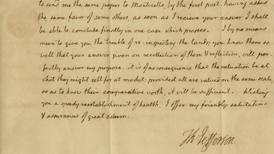 This undated photo provided by Nathan Raab shows the July 24, 1805 letter from President Thomas Jefferson.