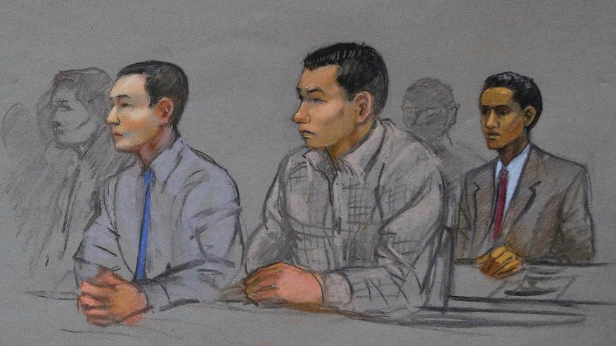 This courtroom sketch shows defendants Azamat Tazhayakov, left, Dias Kadyrbayev, center, and Robel Phillipos, right, college friends of Boston Marathon bombing suspect Dzhokhar Tsarnaev, during a hearing in federal court Tuesday, May 13, 2014, in Boston. Judge Douglas Woodlock ruled the three men will be tried separately, but their trials do not need to be moved out of Massachusetts. Kadyrbayev and Tazhayakov are Kazakhstan nationals charged with tampering with evidence for removing Tsarnaev's laptop and a backpack containing fireworks from his college dorm room shortly after last year's fatal bombing. Phillipos, of Cambridge, Mass., is charged with lying to investigators.  (AP Photo/Jane Flavell Collins)