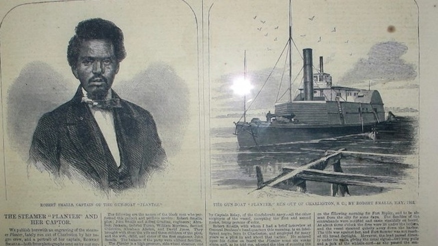 FILE: May 2, 2012: A display at the Charleston Museum in Charleston, S.C., shows an 1862 Harpers Weekly article about Robert Smalls and the CSS Planter. Researchers announced on May 13, 2014 that they believe they have found the wreck of the Planter on the South Carolina coast.