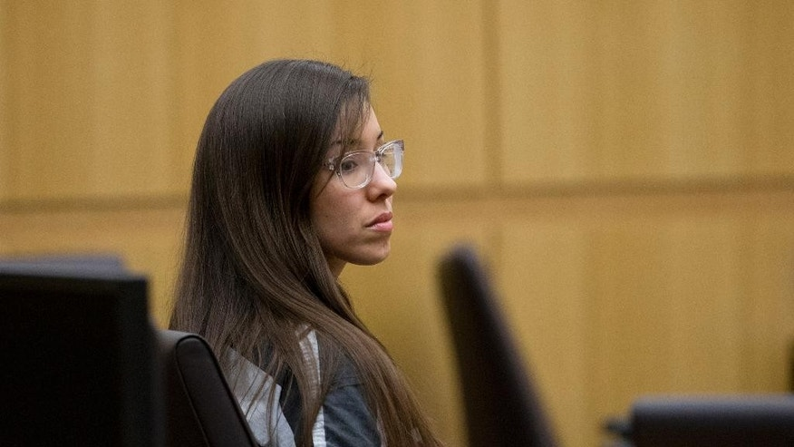 Jodi Arias sits in Maricopa County Superior Court on May 16, 2014,  for a hearing on allowing cameras in the courtroom in Phoenix, Ariz.  Arias was convicted of murder last year for the 2008 killing of her lover in Arizona, but jurors couldn't reach a decision on a sentence. Under state law, while her murder conviction stands, prosecutors have the option of putting on a second penalty phase with a new jury in an effort to secure a death sentence. If the second panel fails to reach a unanimous decision, the death penalty will be removed from consideration. (AP Photo/The Arizona Republic, Cheryl Evans)  MARICOPA COUNTY OUT; MAGS OUT; NO SALES