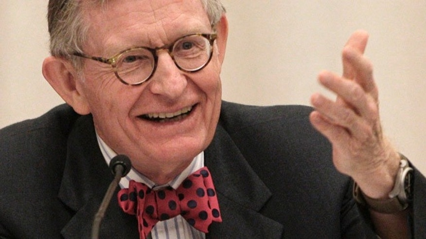 FILE - In this June 7, 2013, file photo, former Ohio State University president Gordon Gee gives his retirement speech during a board of trustees meeting in Columbus, Ohio. (AP Photo/Jay LaPrete, File)