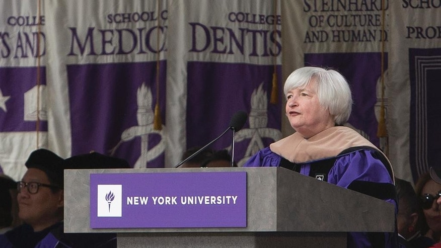 Federal Reserve Chair Janet Yellen speaks to graduates during New York University's commencement ceremony Wednesday, May 21, 2014, at Yankee Stadium in New York.  (AP Photo/Frank Franklin II)