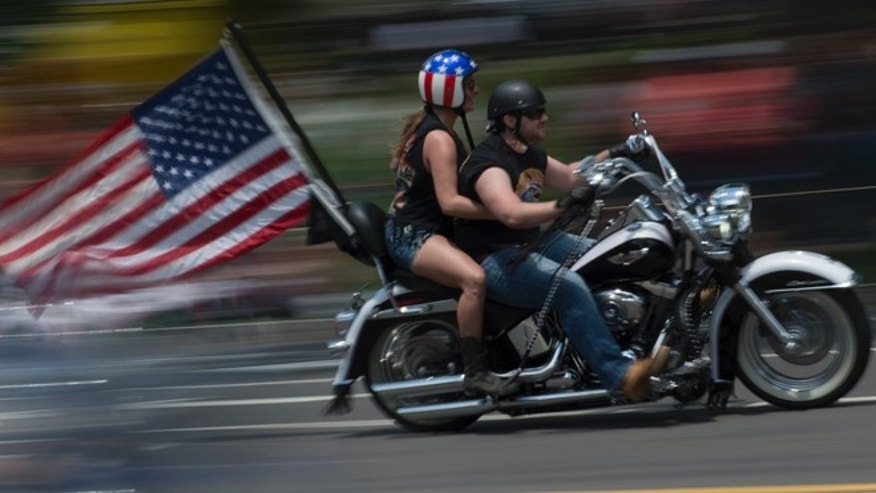 "May 25, 2014: Riders participate in the the annual Rolling Thunder ""Ride for Freedom"" motorcycle rally in Washington."