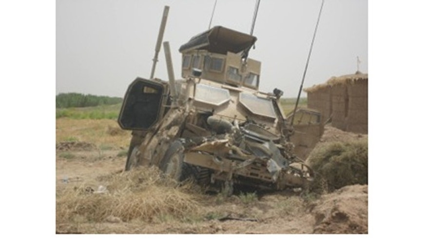 This is the military vehicle Andrew Tahmooressi was driving wen it was struck by an IED on Aug. 1, 2010, in Afghanistan. Tahmooressi returned to patrol that afternoon. (Courtesy: Mark Podlaski)