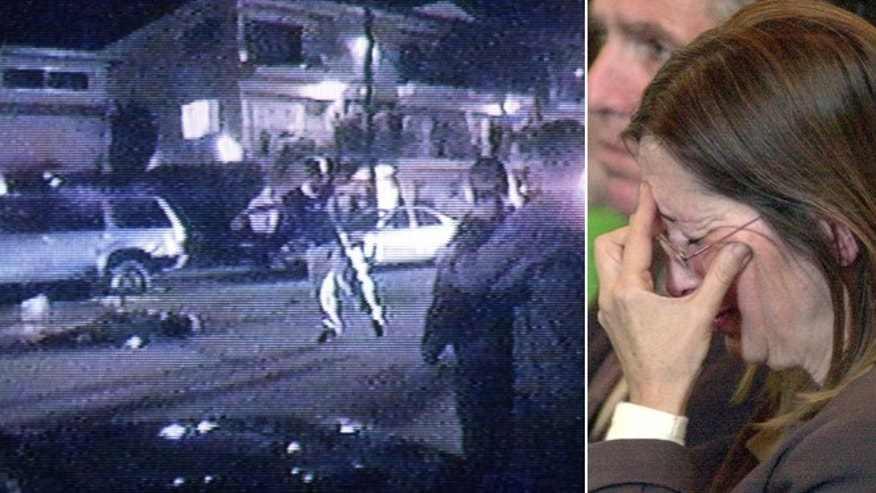 Feb. 25, 2001: David Attias confronts police in this video still moments after he drove his car into a crowd of people at high speed, killing four; right, Diana Attias, David's mother, breaks down as a doctor gives details of an autopsy report.