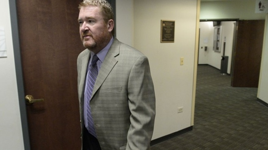 May 29, 2014: Daniel King, defense attorney for James Holmes, arrives at the Arapahoe County Justice Center for a hearing in Centennial, Colo.  (AP)