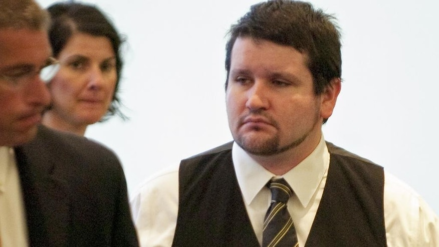 "Seth Mazzaglia is led from Strafford County Superior Court in Dover, N.H., Monday, June 2, 2014, during lunch break in his trial. Mazzaglia is on trial for the murder of University of New Hampshire student Elizabeth ""Lizzy"" Marriott in his Dover N.H. apartment on Oct. 9, 2012. (AP Photo, Foster's Daily Democrat, John Huff, Pool)"