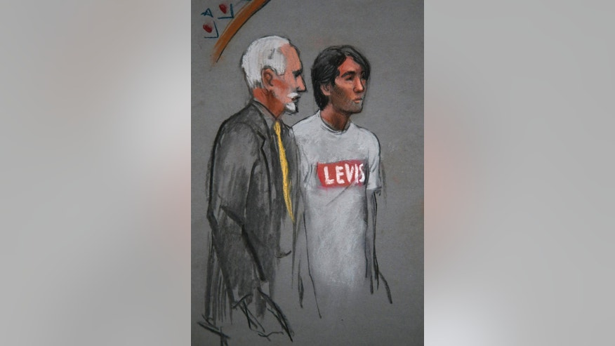 In this courtroom sketch, Khairullozhon Matanov, right, with attorney Paul Glickman, appears in federal court before Magistrate Judge Marianne B. Bowler, Friday, May 30, 2014, in Boston. Matanov, a friend of the brothers suspected of carrying out the 2013 Boston Marathon bombings, faces federal charges he destroyed, altered and falsified records, and made false statements to obstruct the investigation into the bombings. Matanov, arrested Friday morning at his apartment in Quincy, Mass., is a legal resident of the U.S. originally from Kyrgyzstan. (AP Photo/Jane Flavell Collins)