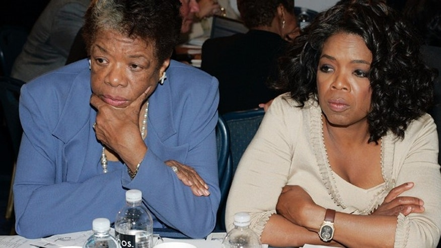Sept. 16, 2005: Poet Maya Angelou, left, sits with television talk show host Oprah Winfrey during the Clinton Global Initiative summit in New York.