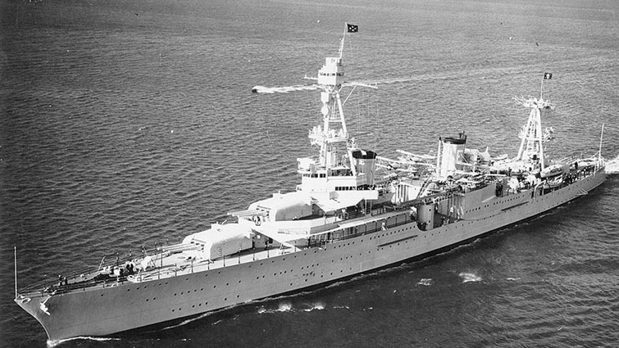 USS Houston (CA-30) is seen off the coast of San Diego, Calif., in October 1935, with President Franklin D. Roosevelt on board. (U.S. Naval Historical Center Photograph)