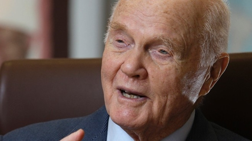 Jan. 25, 2012: John Glenn speaks during an interview at his office in Columbus, Ohio.