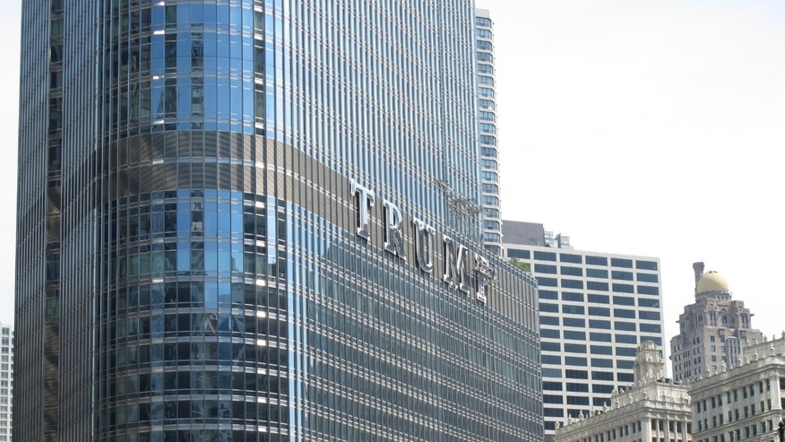 June 13, 2014 - Newly installed 20-foot-tall letters spelling out T-R-U-M-P are seen on the side of real estate billionaire Donald Trump's skyscraper in Chicago, The letters have triggered a war of words between Trump and Chicago Mayor Rahm Emanuel.
