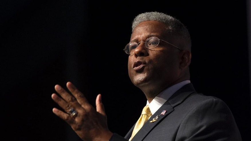 Former Florida Rep. Allen West speaks at the Faith and Freedom Coalition's Road to Majority event in Washington, Thursday, June 19, 2014. Some of the Republican Party's most ambitious leaders are courting religious conservatives as evangelical Christians claim new momentum in their fight for the GOP's soul. (AP Photo/Molly Riley)