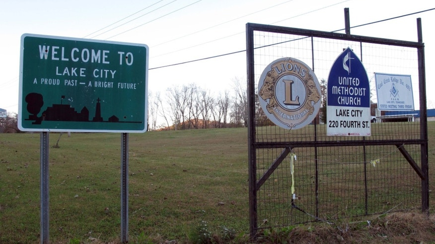 FILE: A sign welcomes people to Lake City, Tenn.