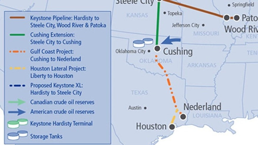 A 485-mile segment of the Keystone Pipeline connecting Cushing, Okla., and Nederland, Texas, is boosting local economies, according to a study. (TransCanada)