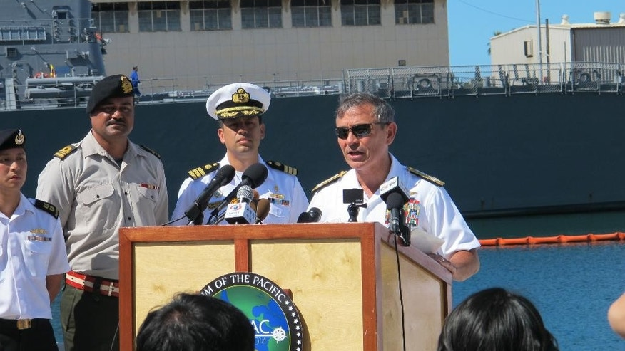 U.S. Pacific Fleet commander Adm. Harry Harris speaks during a news conference at the Rim of the Pacific exercises in Pearl Harbor, Hawaii on Monday, June 30, 2014. (AP Photo/Audrey McAvoy)