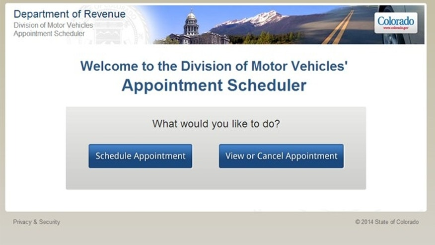 The website for Colorado's Division of Motor Vehicles 'Schedule an Appointment at a Driver's License Office' page averaged 70,000 hits per hour on Tuesday, including a high of 107,500 hits hourly, compared to its hourly average of 8,126 hits per hour, a spokeswoman told FoxNews.com. (Colorado.gov)