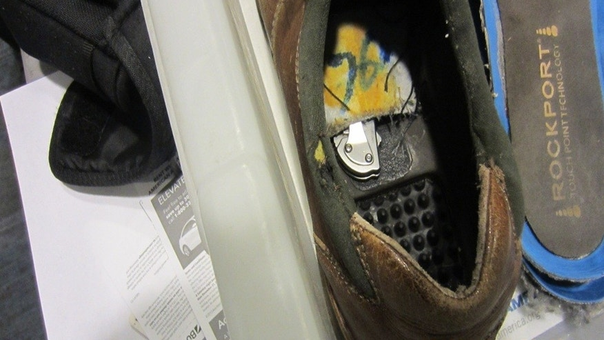 This photo, released by the TSA, shows the knife that security officials found Sunday inside the lining of a man's shoe at Detroit Metropolitan Wayne County Airport. The man's name has not yet been released.