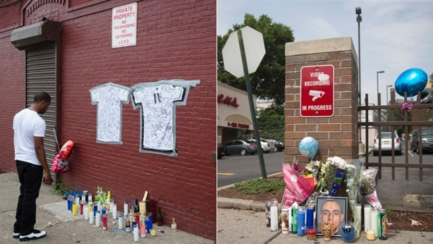 July 14, 2014: These images show memorials to Lawrence Campbell, left, and Jersey City, N.J. police officer Melvin Santiago. Authorities say Campbell fatally shot Santiago as the officer responded to a report of a robbery at a Walgreens store Sunday. (AP)