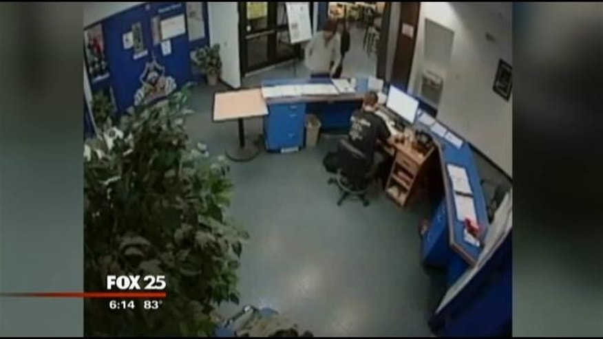 July 14, 2014: This image taken from surveillance video released by federal prosecutors shows Dzhokhar Tsarnaev and Azamat Tazhayakov walking through a building at the University of Massachusetts Dartmouth on April 16, 2013, one day after the Boston Marathon bombing (MyFoxBoston.com)