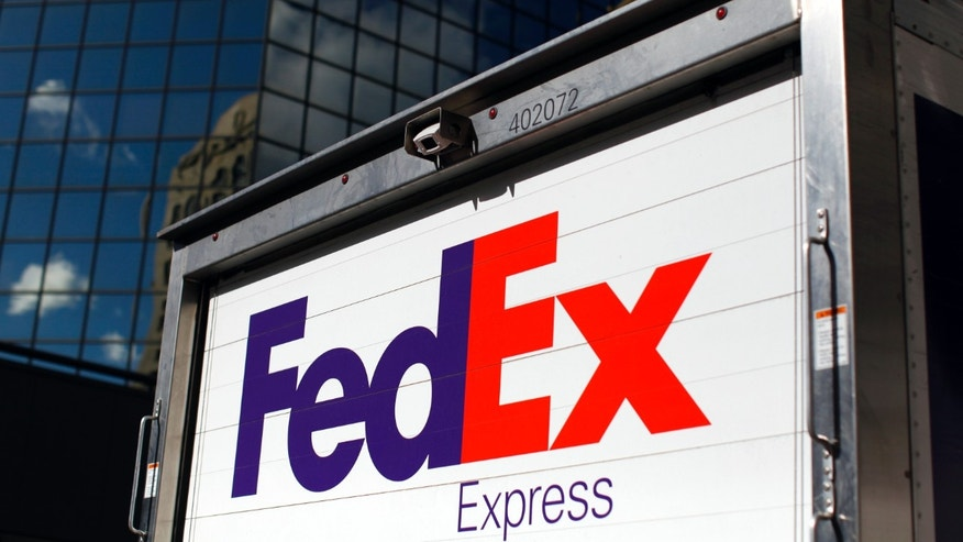 A FedEx delivery truck is seen in San Diego, California.