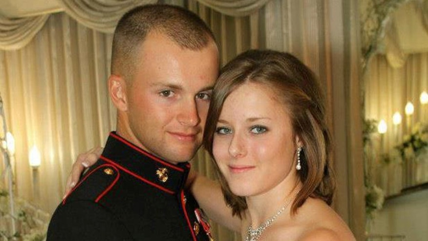 Erin Corwin, 20, is pictured here with her husband, Marine Cpl. Jonathan Corwin.