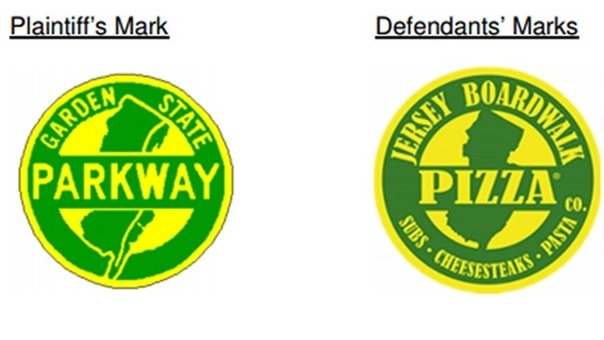July 23, 2014: This image taken from a lawsuit filed in federal court by the NJ Turnpike Authority shows logos being used by a Florida company that the turnpike authority has taken to court. At left is the trademark of the Garden State Parkway, which is suing the Jersey Boardwalk Pizza Co. over its logos. (AP)