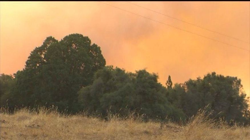 July 26, 2014: This photo shows the Sand Fire as it burns approximately 40 miles northeast of Sacramento, California. (Photo courtesy Fox40.com)