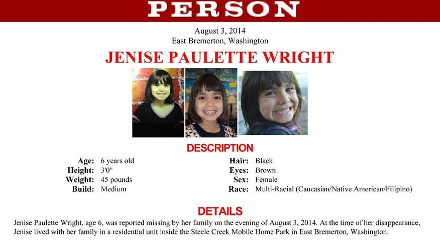 This undated photo provided by the FBI shows a missing person poster for Jenise Paulette Wright. More than 100 officers from 10 law enforcement agencies are involved in the search for 6-year-old Jenise, who disappeared from her Washington state home over the weekend, sheriff's officials said Tuesday, Aug. 5, 2014. (AP Photo/FBI)