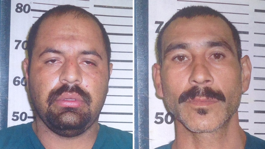 FILE: Gustavo Tijerina, 30, left, and Ismael Hernandez, 40, are suspects in the shooting death of off-duty Border Agent Javier Vega Jr., authorities say.