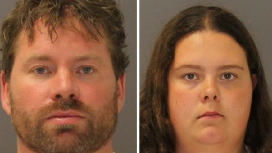 These images provided by the St. Lawrence County Sheriff's Office shows the booking photo of Stephen Howells II, left, and Nicole Vaisey, who was arraigned late Friday Aug. 15, 2014 on charges they intended to physically harm or sexually abuse two Amish sisters after abducting them from a roadside farm stand.