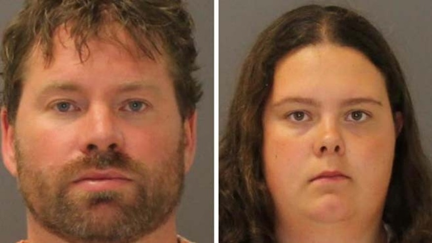 These images provided by the St. Lawrence County Sheriff's Office shows the booking photo of Stephen Howells II, left, and Nicole Vaisey, who was arraigned late Friday Aug. 15, 2014 on charges they intended to physically harm or sexually abuse two Amish sisters after abducting them from a roadside farm stand. (AP/St. Lawrence County Sheriff)