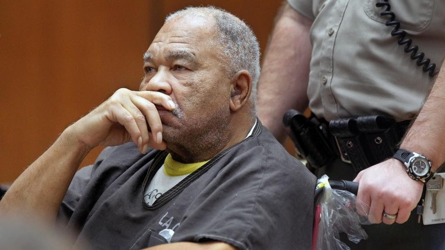 FILE - In this Monday, March 4, 2013 file photo, Samuel Little appears at Superior Court in Los Angeles.Testimony is set to begin Tuesday, Aug. 19, 2014 in the trial of Little, accused of sexually assaulting and strangling three women in the 1980s. Prosecutors planned to call their first witnesses in their case against Little, 74, who faces life in prison for killing the three women who were found nude below the waist. Little was arrested in 2012 after detectives from Los Angeles found him living in a shelter in Kentucky.(AP Photo/Damian Dovarganes,File)