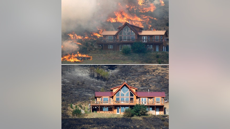 FILE - This combination of photos shows a house on a hillside near Cle Elum, Wash., surrounded by wildfire flames on Aug. 14, 2012, top, and afterwards on Aug. 15, 2012, bottom. A spokesman for the Washington state Department of Natural Resources said the house survived the fire because of the defensible space around the structure with the placement of the driveway and the lack of trees and brush up against the house, preventing flames from reaching it. (AP Photo/Elaine Thompson, File)