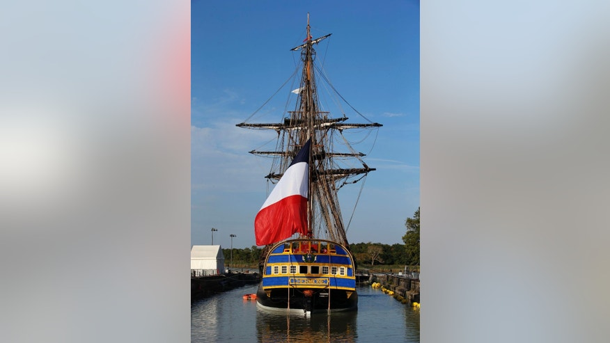 The three masts of the 213 feet long frigate Hermione whose hull is made entirely of oak, is pictured on the eve of its first test in the sea in Rochefort, Western France, Saturday, Sept. 6, 2014. Since 1997, in the old dockyard, a passionate team rebuilt the frigate Hermione, which, in 1780, allowed La Fayette to cross the Atlantic to America and join the American rebels in their struggle for independence. The Hermione Lafayette Trip project is aimed to cross the Atlantic in 2015.(AP Photo/Francois Mori)